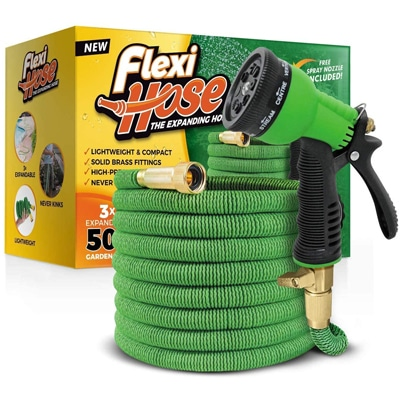 Flexi Hose & 8 Function Nozzle, 50 FT Lightweight Expandable Garden Hose