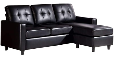 HONBAY CONVERTIBLE MODERN FAUX LEATHER SECTIONAL SOFA