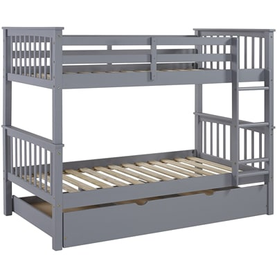WE FURNITURE TWIN BUNK BED WITH TRUNDLE BED
