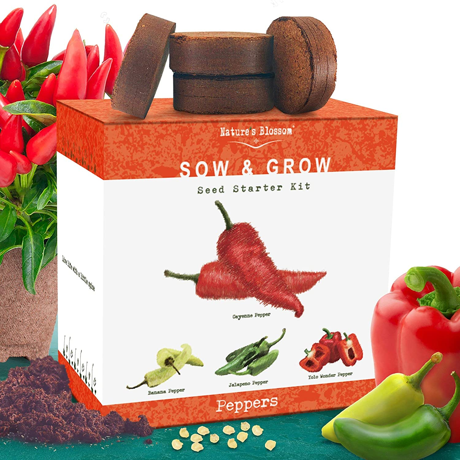 Nature's Blossom Indoor Peppers Seed Starter Kit - Grow 4 Different Peppers