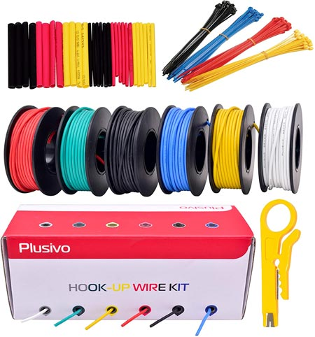 22AWG Silicone Hook Up Wire - 22 Gauge Stranded Tinned Copper Wire with Silicone Insulation