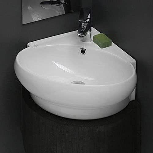 CeraStyle U-One Hole Mini Round Corner Ceramic Wall Mounted/Vessel Sink