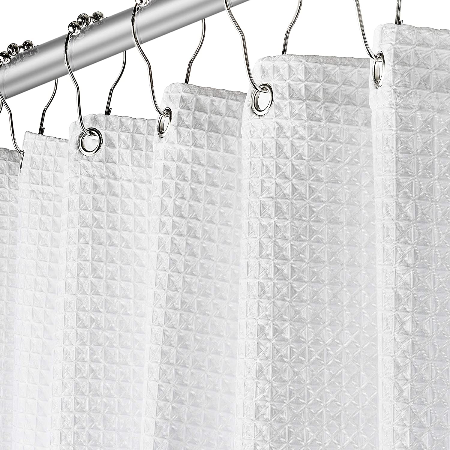 Fabric White Shower Curtain for Bathroom