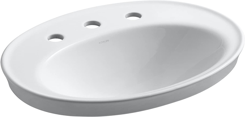 KOHLER K-2075-8-0 Serif Self-Rimming Bathroom Sink, White