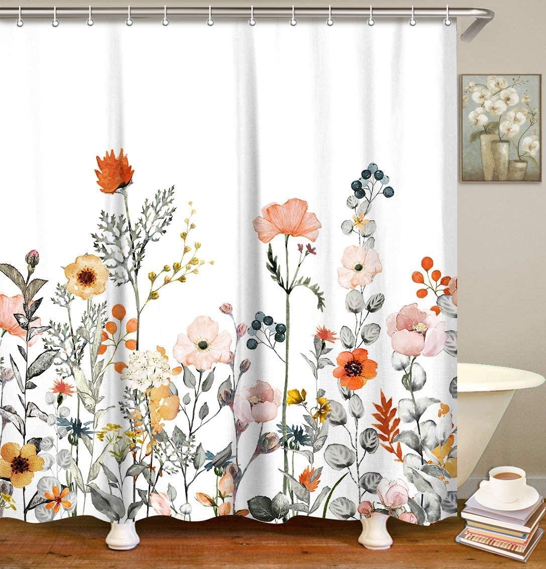 LIVILAN Fabric Floral Shower Curtain Set