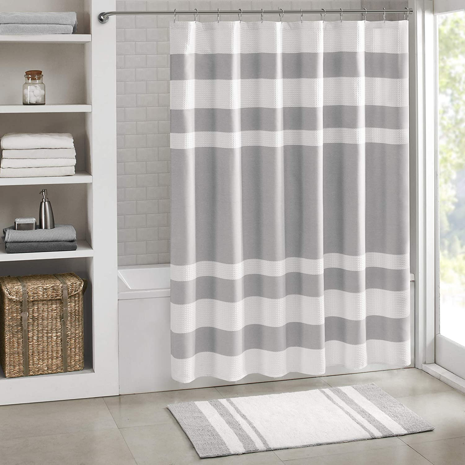 Madison Park Spa Waffle Shower Curtain Pieced Solid Microfiber Fabric