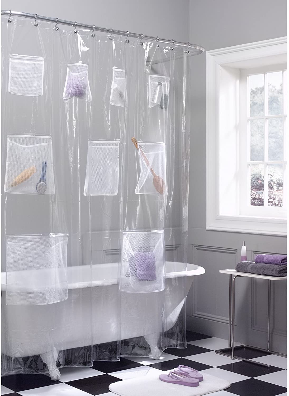 Maytex Quick Dry Mesh Pockets Waterproof PEVA Shower Curtain or Liner