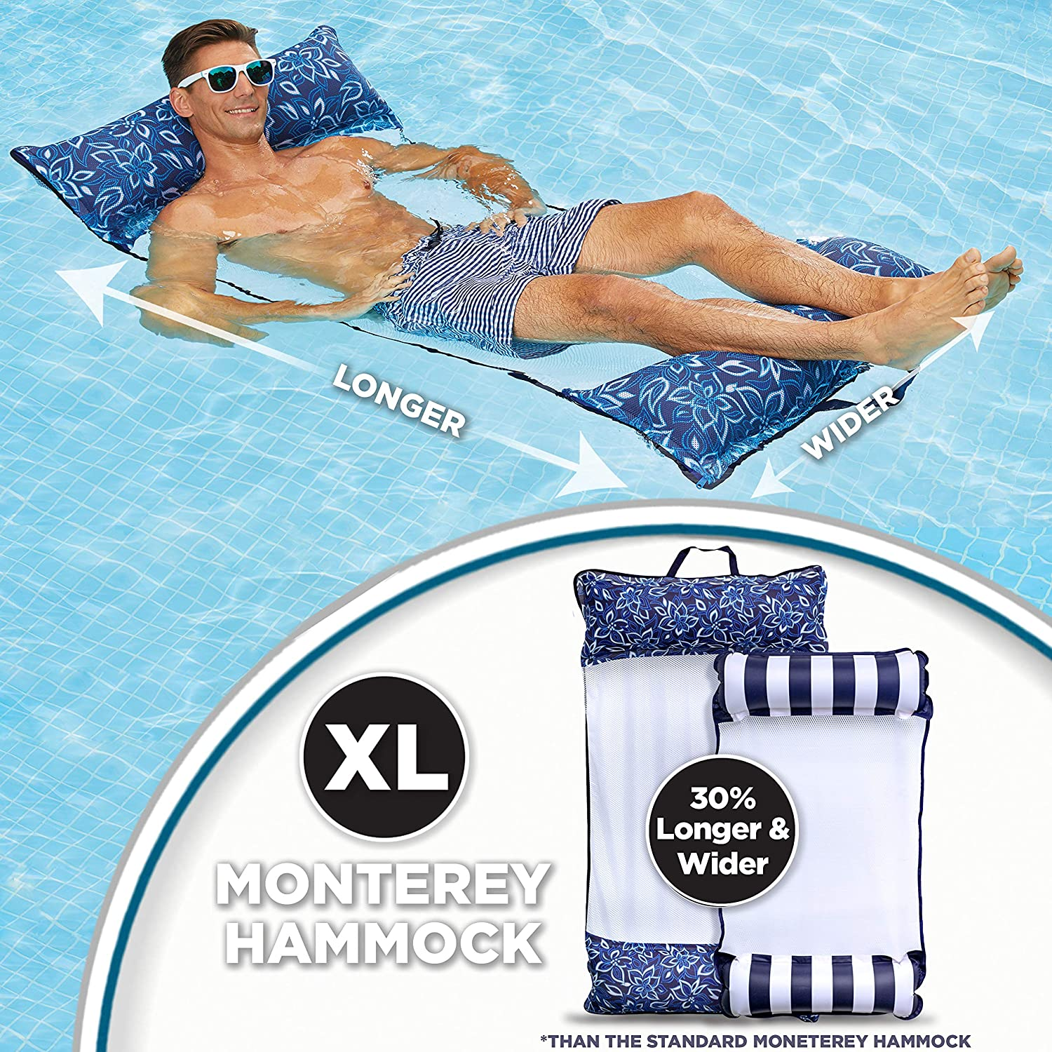Aqua 4-in-1 Monterey Hammock Supreme XL (Longer/Wider) Multi-Purpose Adult Pool Float