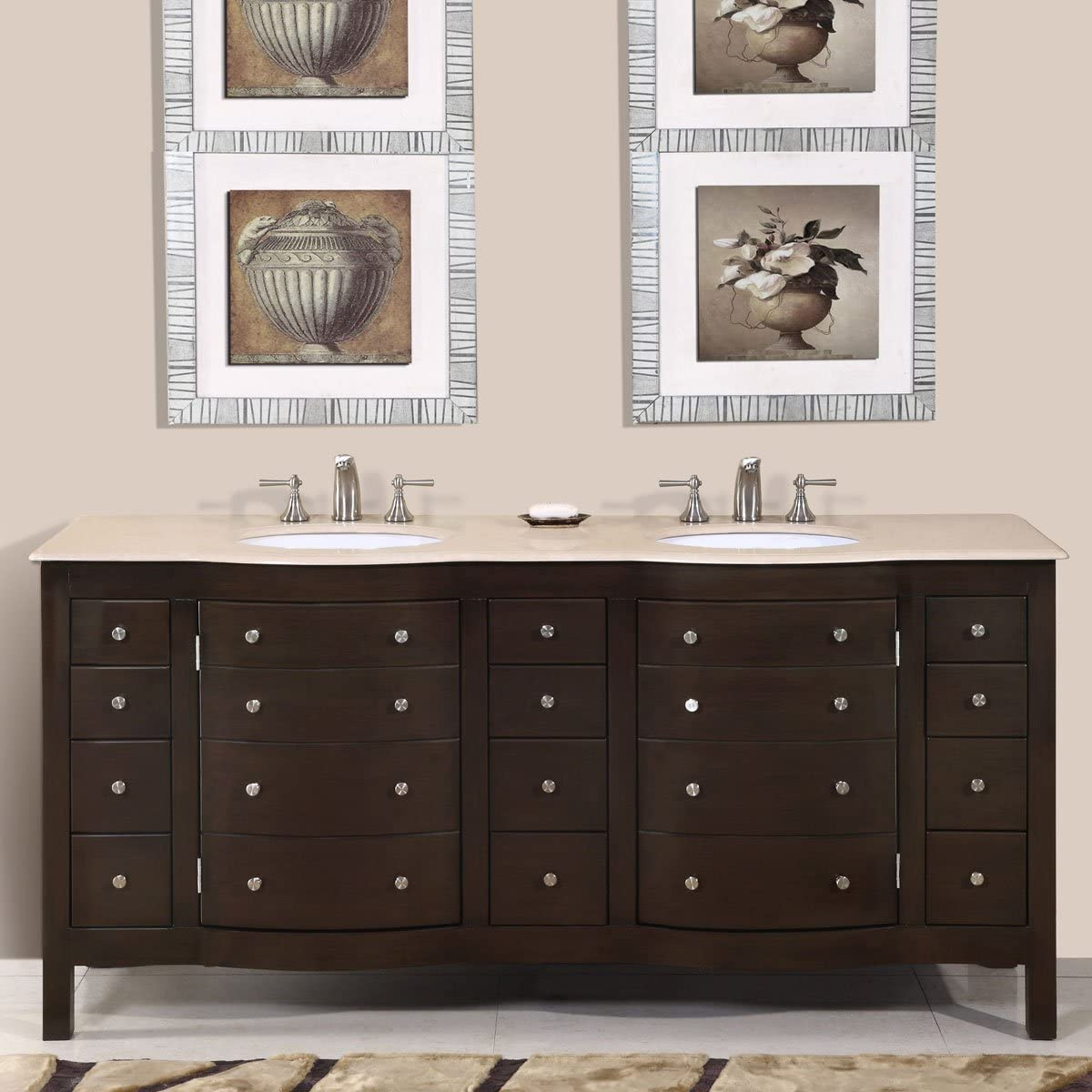Silkroad Exclusive Cream Marfil Marble Stone Double Sink Bathroom Vanity
