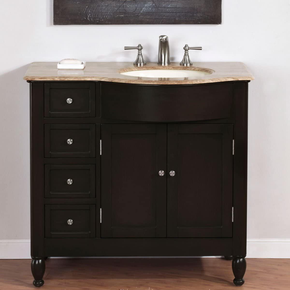 Silkroad Exclusive Single Right Sink Bathroom Vanity with Bath Furniture Cabinet
