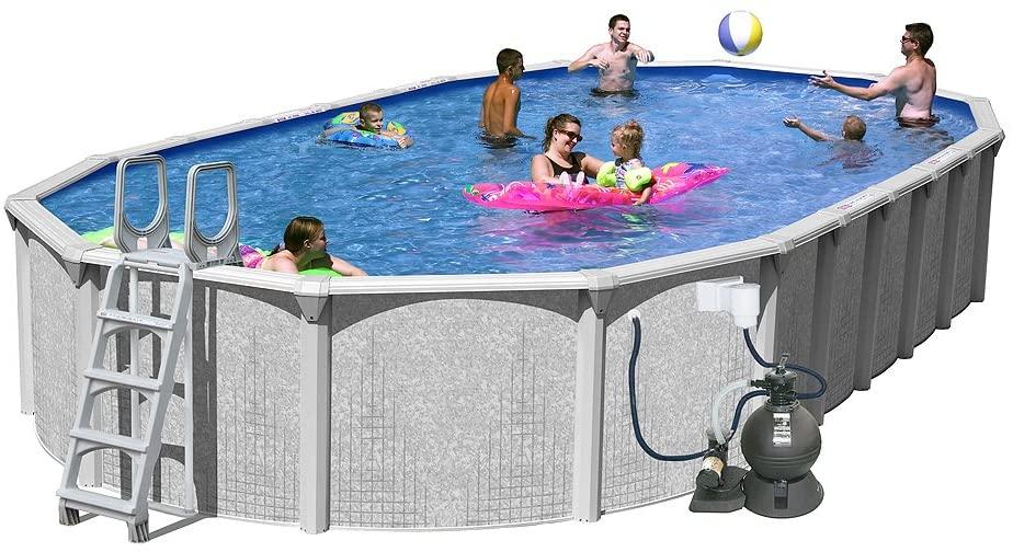 Splash Pools Above Ground Slim Style Oval Pool Package