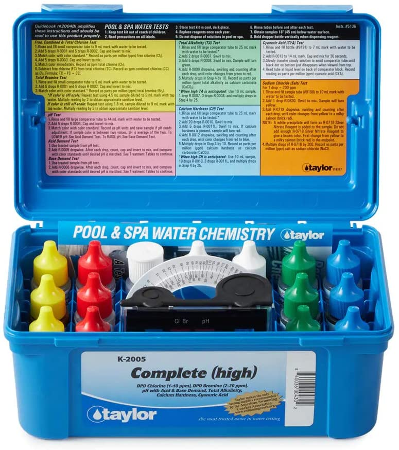 Taylor K2005 Swimming Pool Chlorine Bromine Alkalinity Hardness pH DP Test Kit