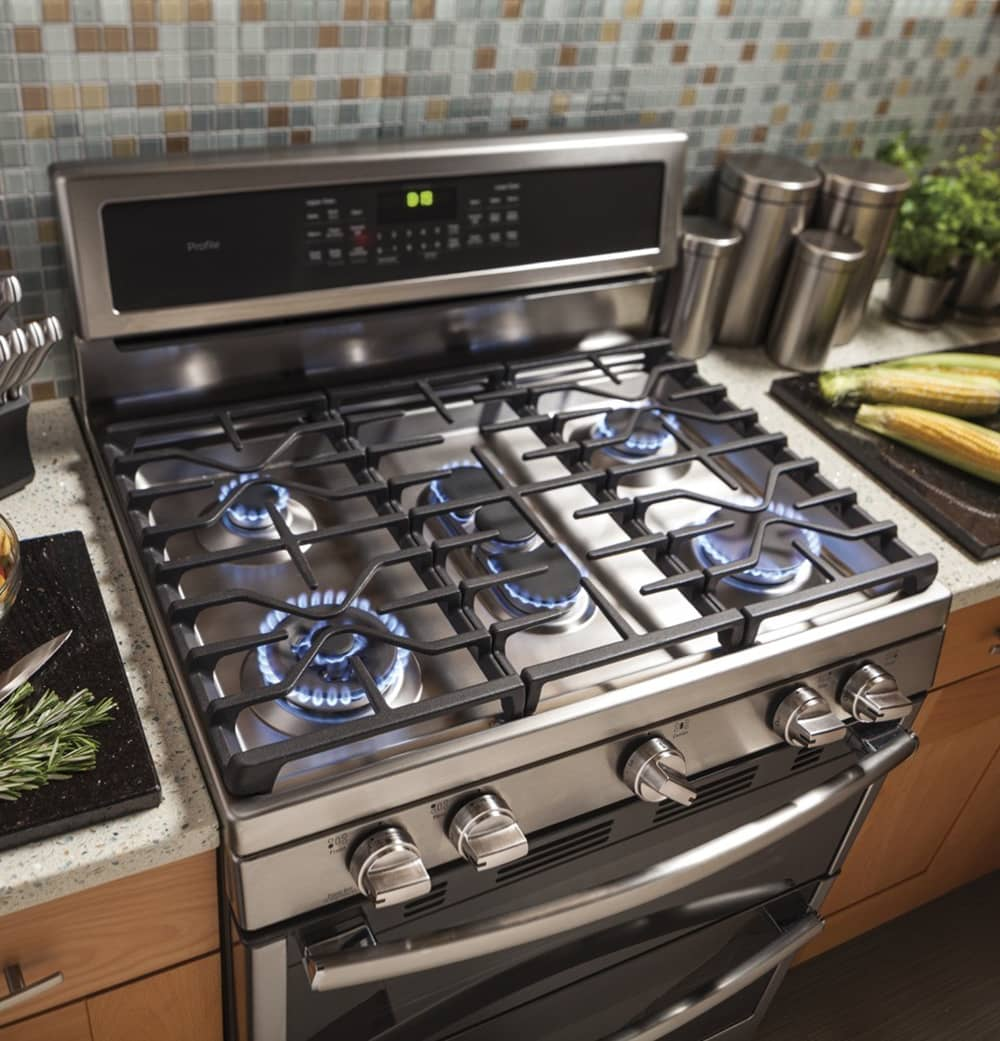 photo of a stainless gas range