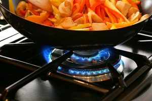 picture of a flaming gas range