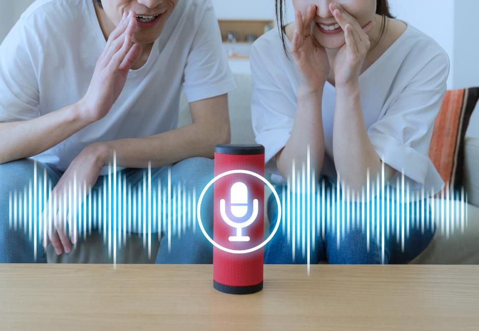 photo of smart speaker using inside the home