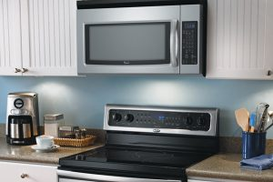photo of a gas range and vent