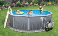 Photo of above ground pool with the whole family