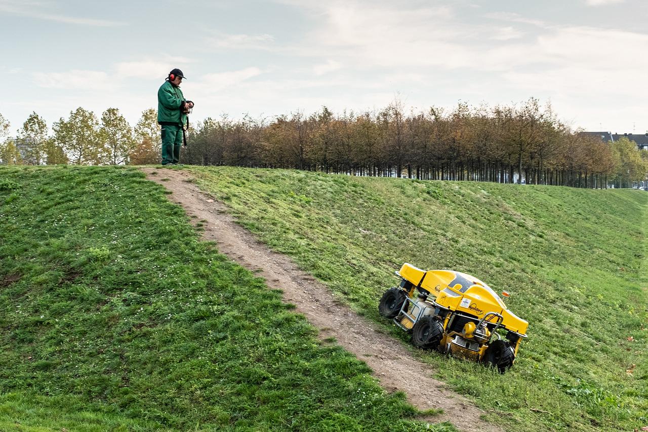 a robot mower controlling of a man