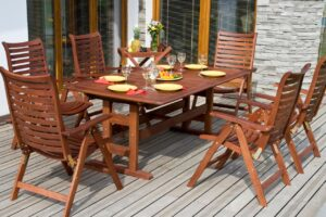 Photo of wooden outdoor table