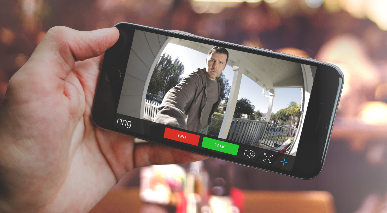 Photo of cellphone view live video on ring doorbell