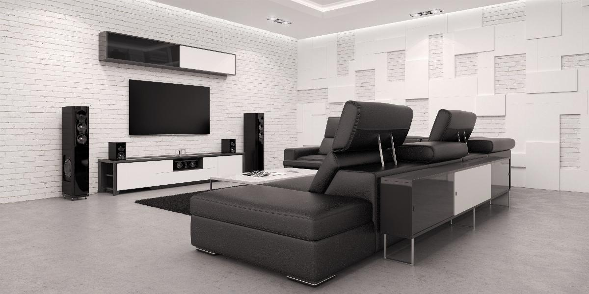 Photo of living room with smart speaker and smart tv
