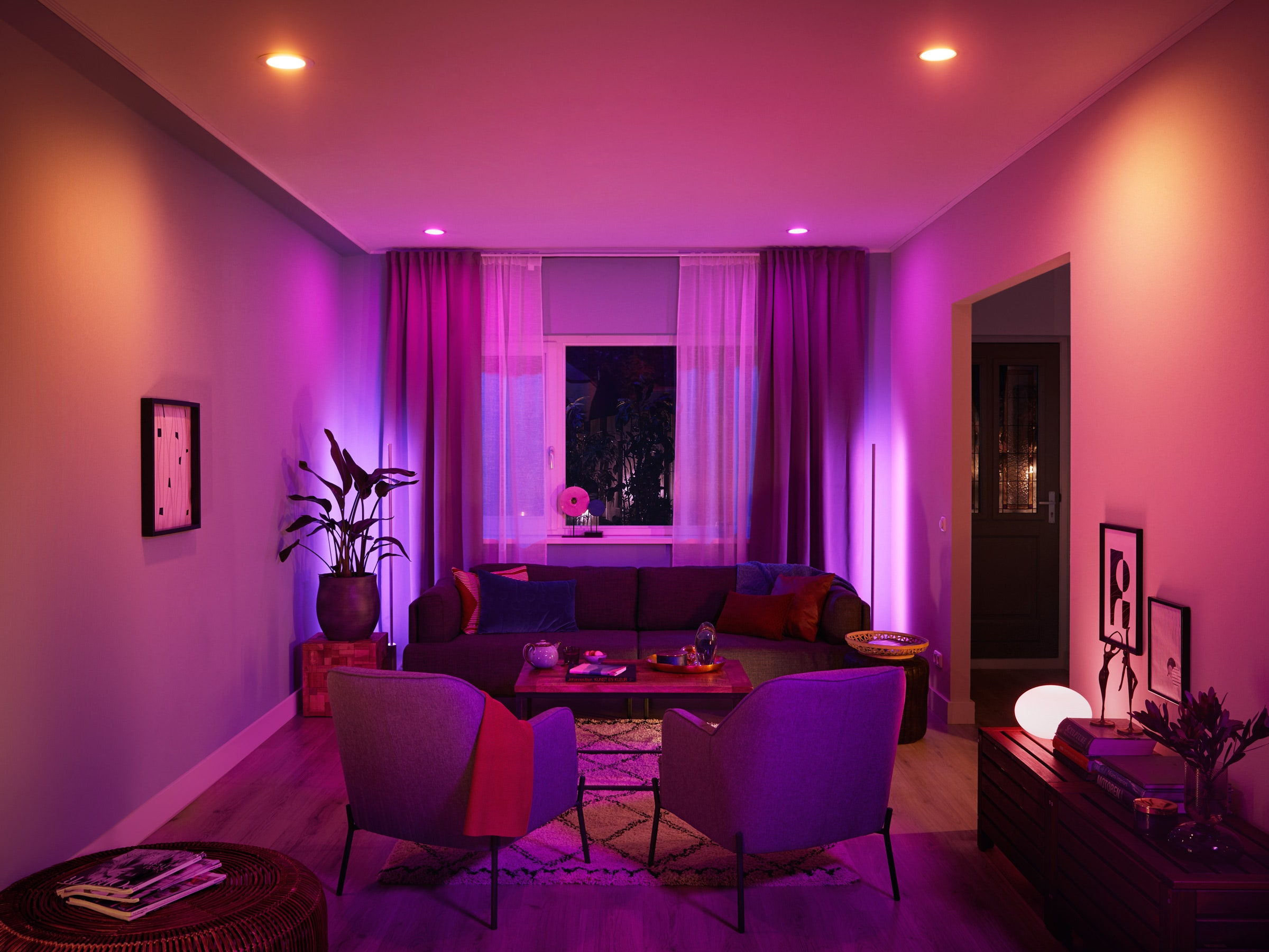 Photo of room with smart light bulb