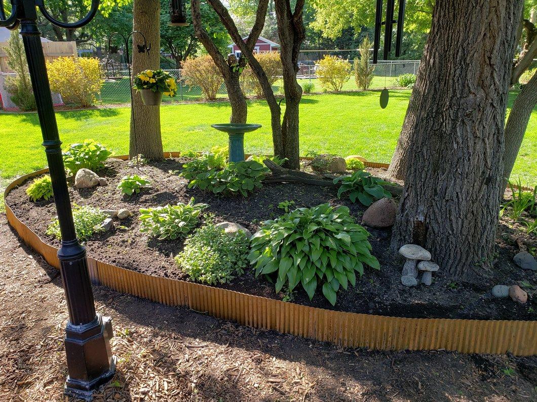 Photo of garden have a steel garden edging