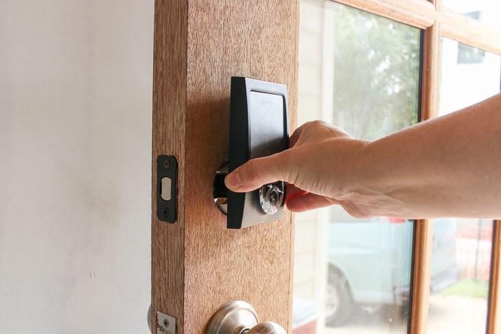 Photo of door installing smart lock