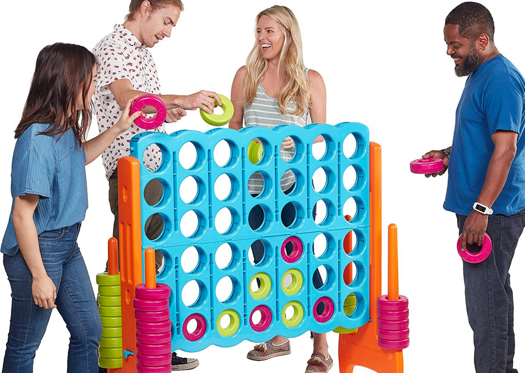 a giant lawn connect playing with friends of The Three Best Giant Connect Four Lawn Games to Encourage Backyard Fun