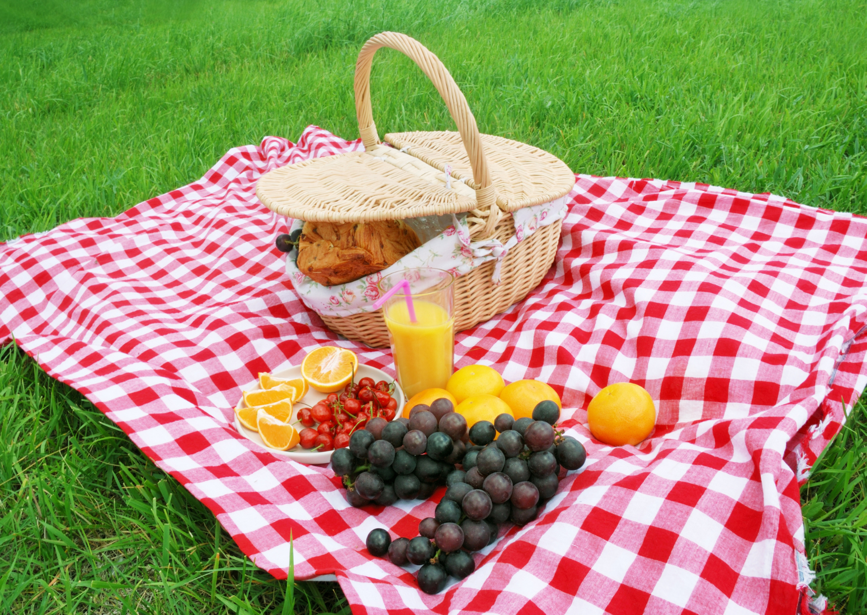 photo of a picnic blanket with fruits