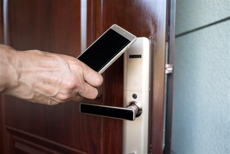 a smart deadbolt lock accesing using a phone