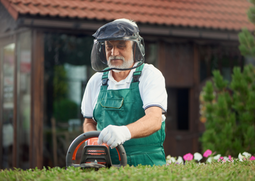 a man wearing a protective gear for garden