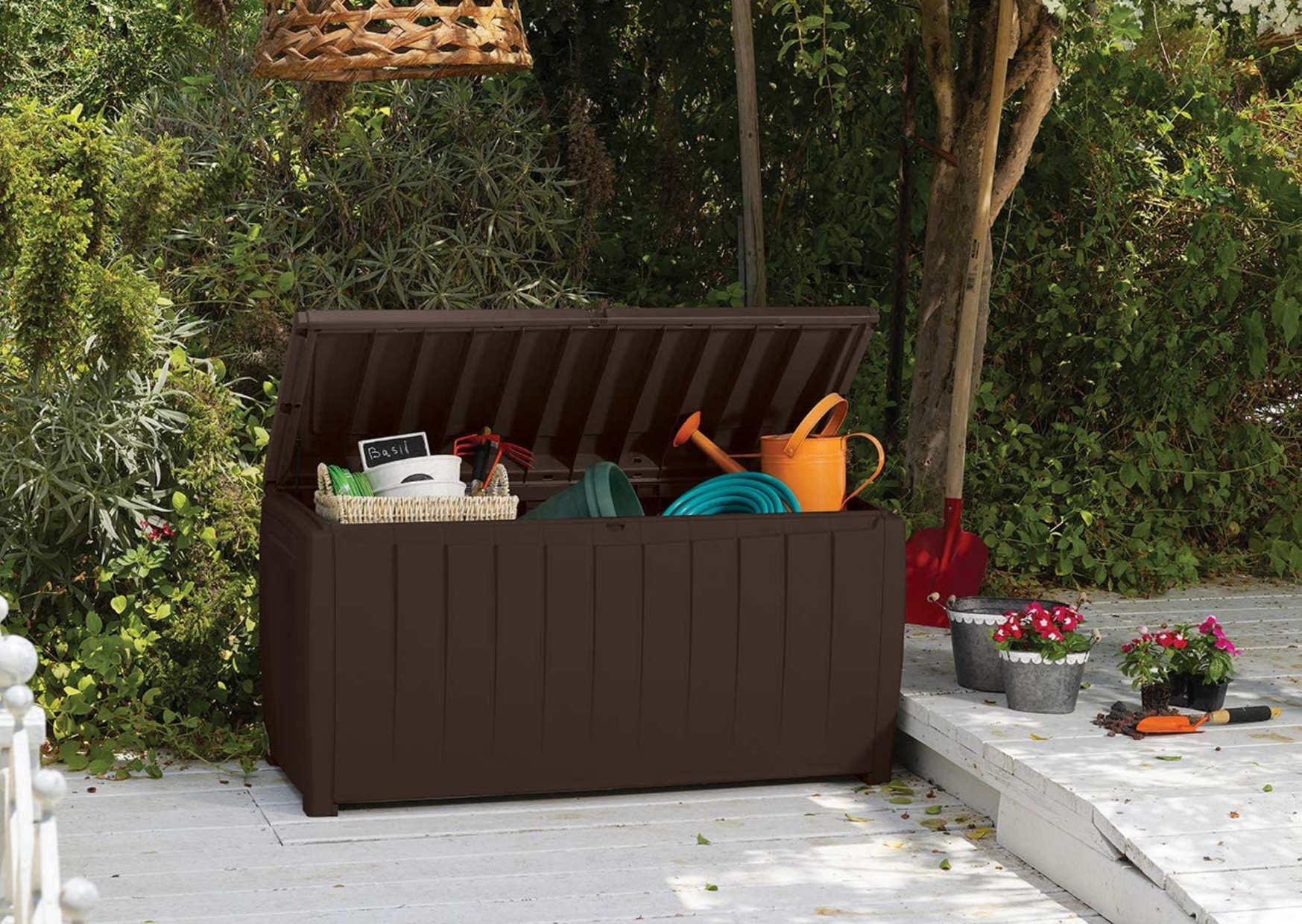 storage bench with a lot of stuff