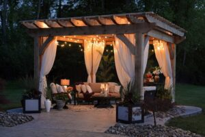 A well-lit outdoor seating area