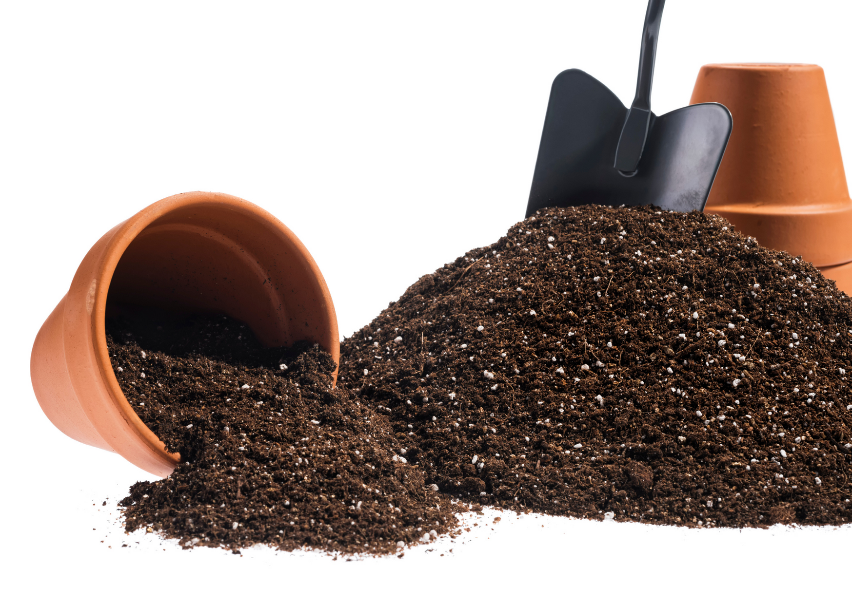 image of soil, pot and a shovel in white backgroud