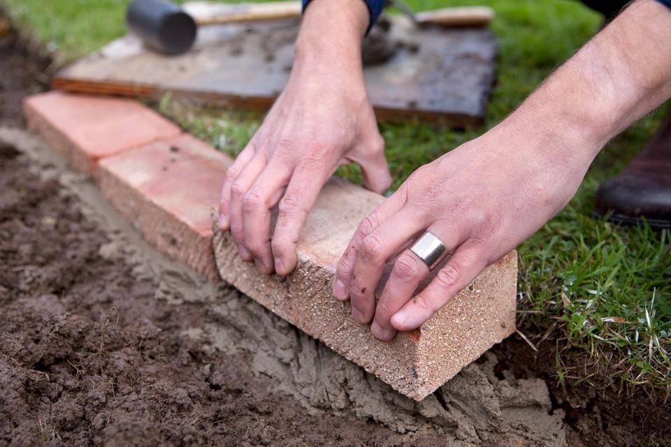 Installing stone edging