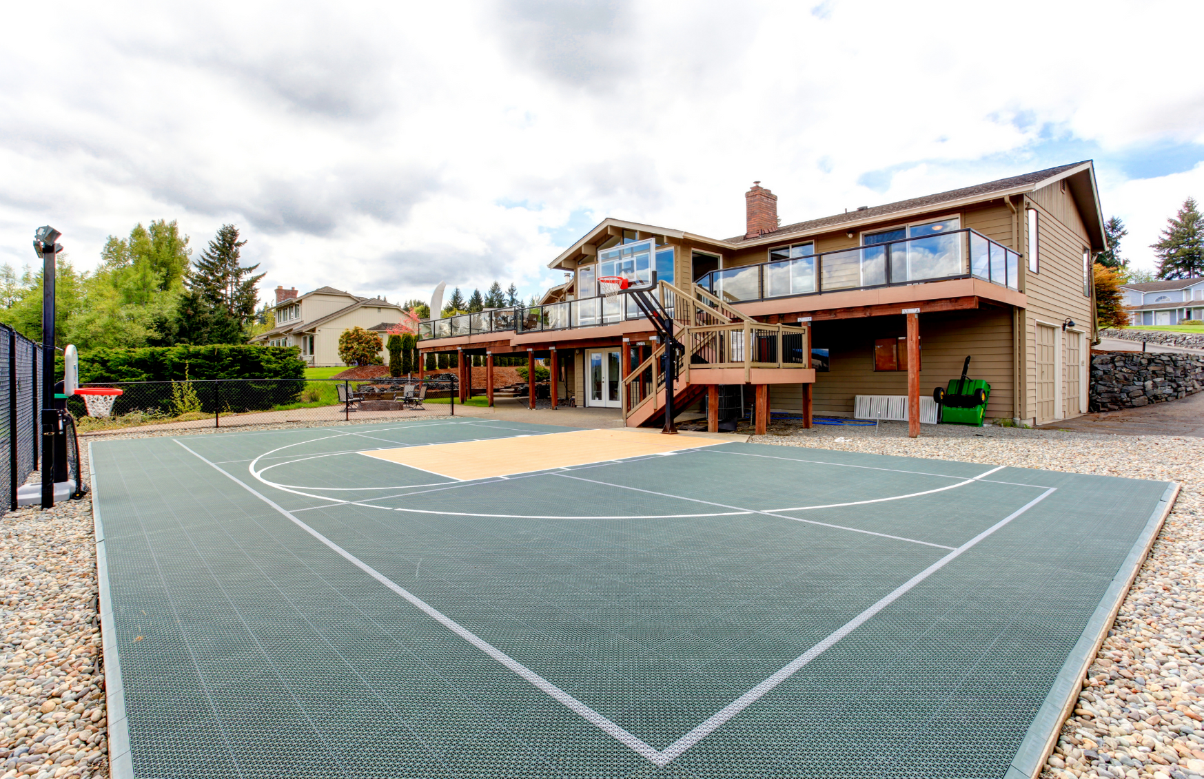basketball court in the backyard