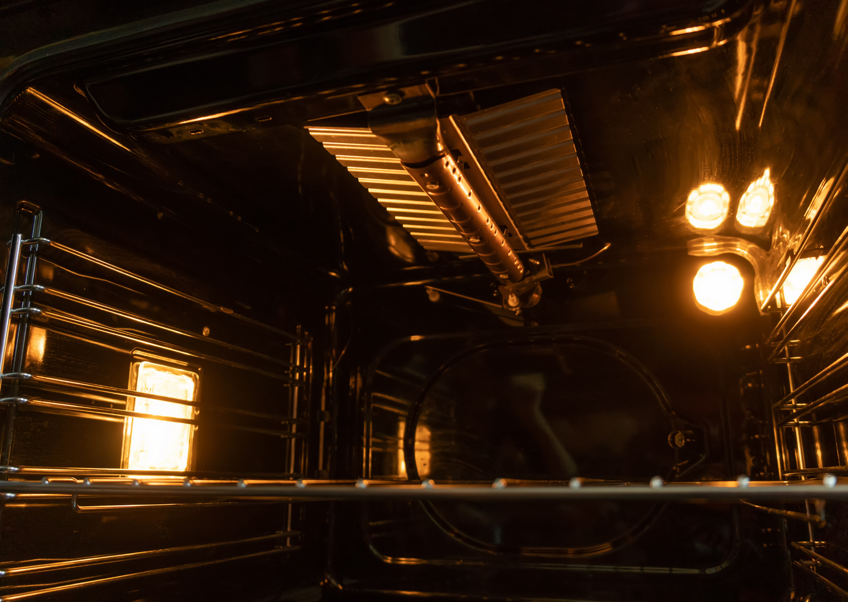 Inside the gas oven