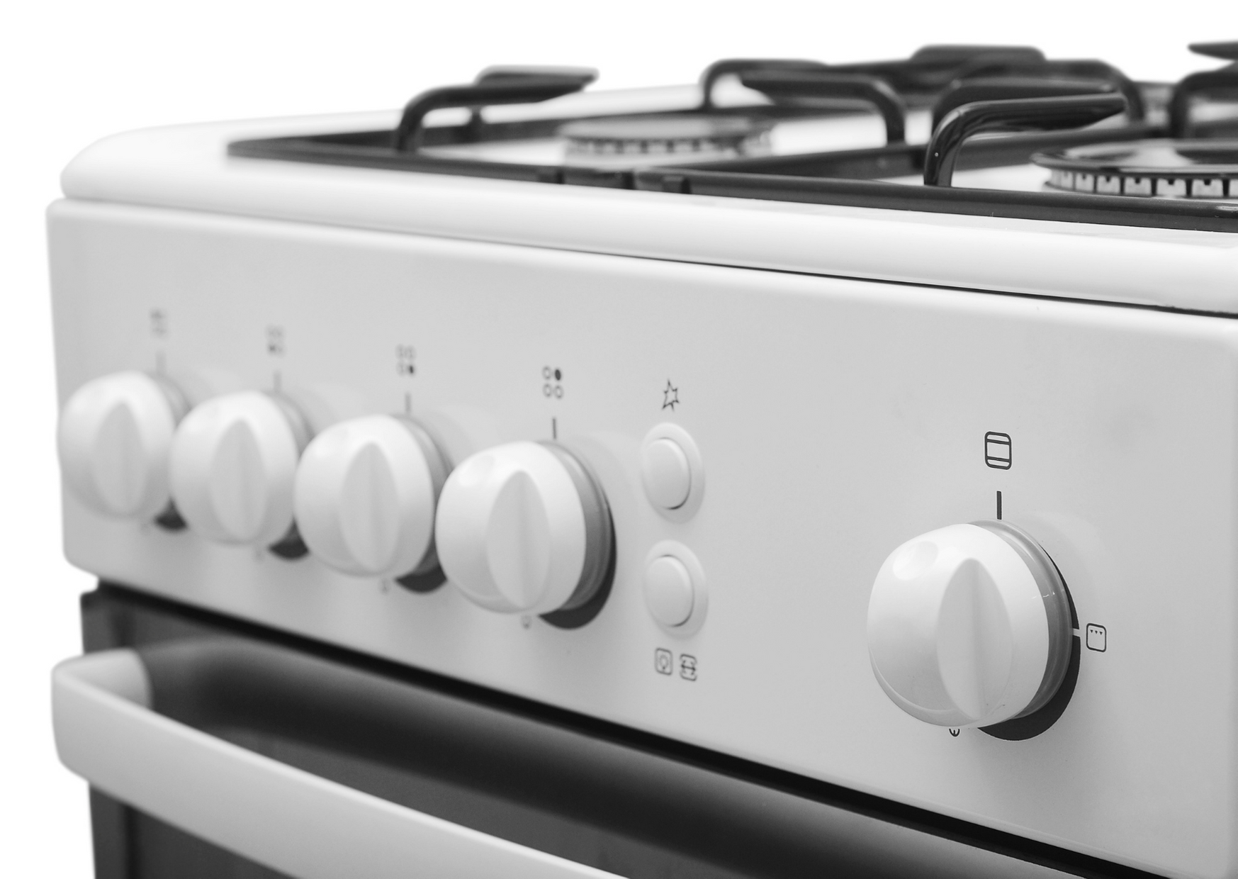 a white stove in focused view