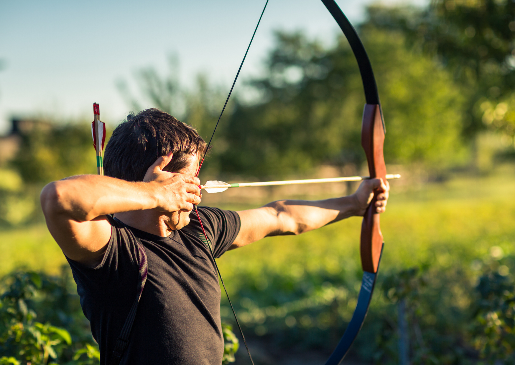Playing archery
