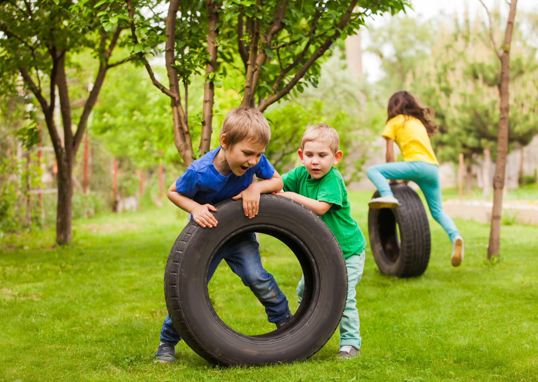 Kids having fun in backyard