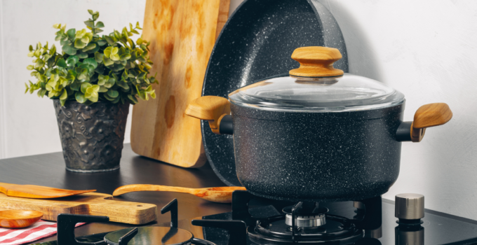 Photo of Gas stove with pot