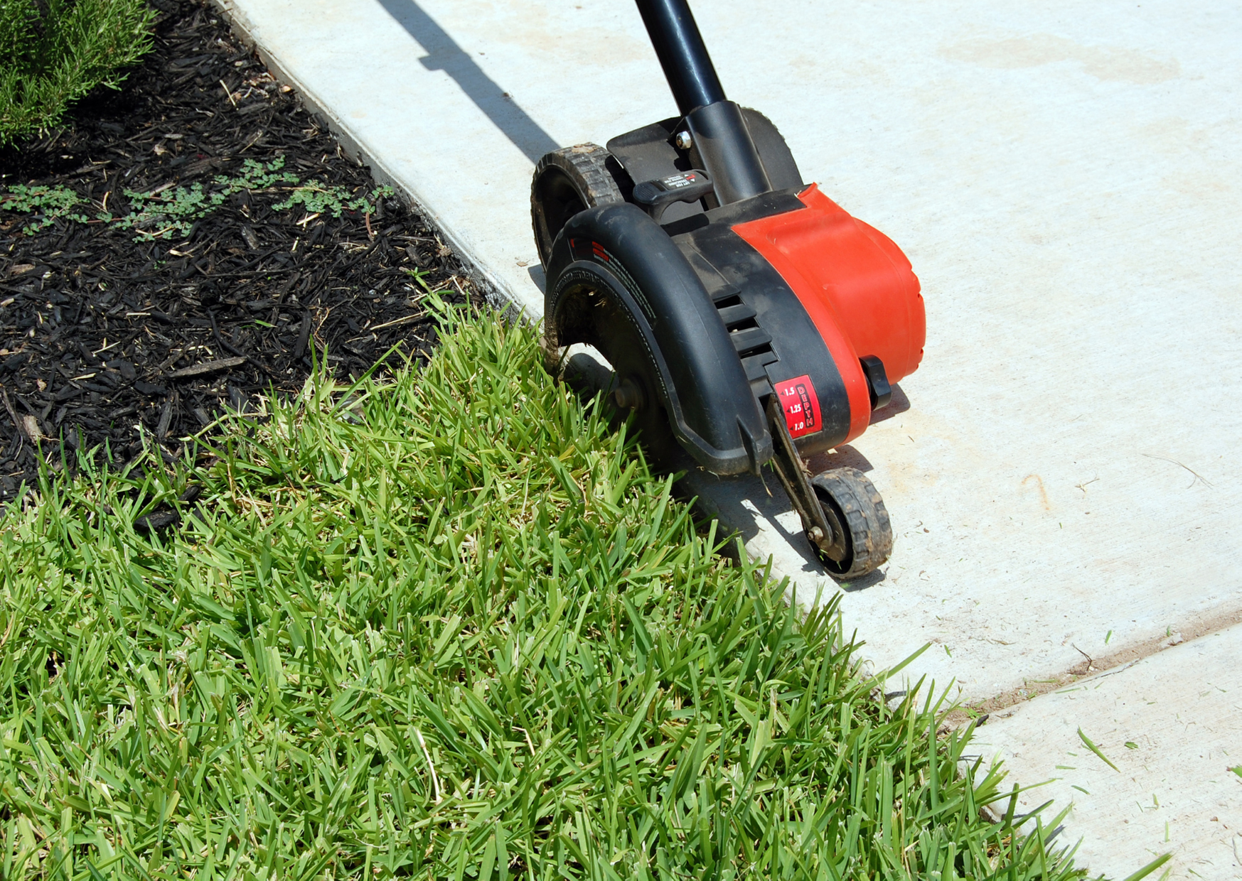 a lawn edger cutting the grass