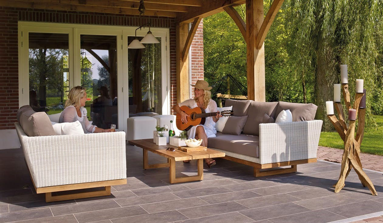 : A comfy outdoor seating area