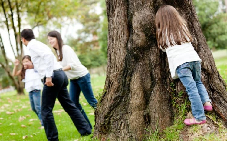 Hide and Seek with family of Fun Things to Do Outside in Your Backyard In Spring