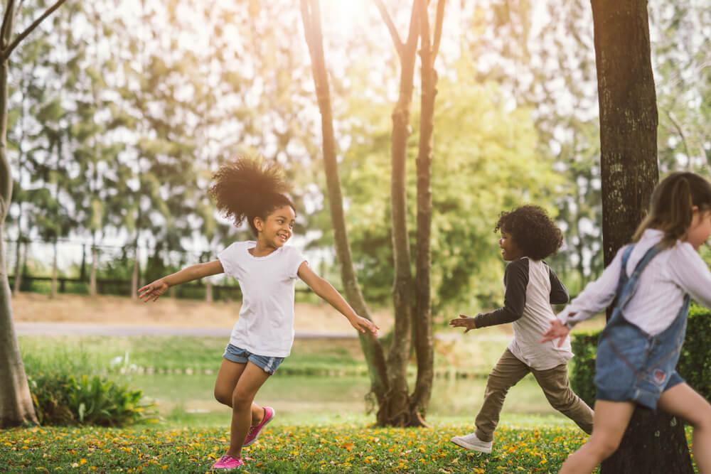 Kids playing in the backyard