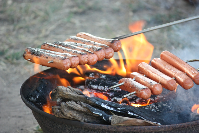Cooking Hot Dogs in backyard