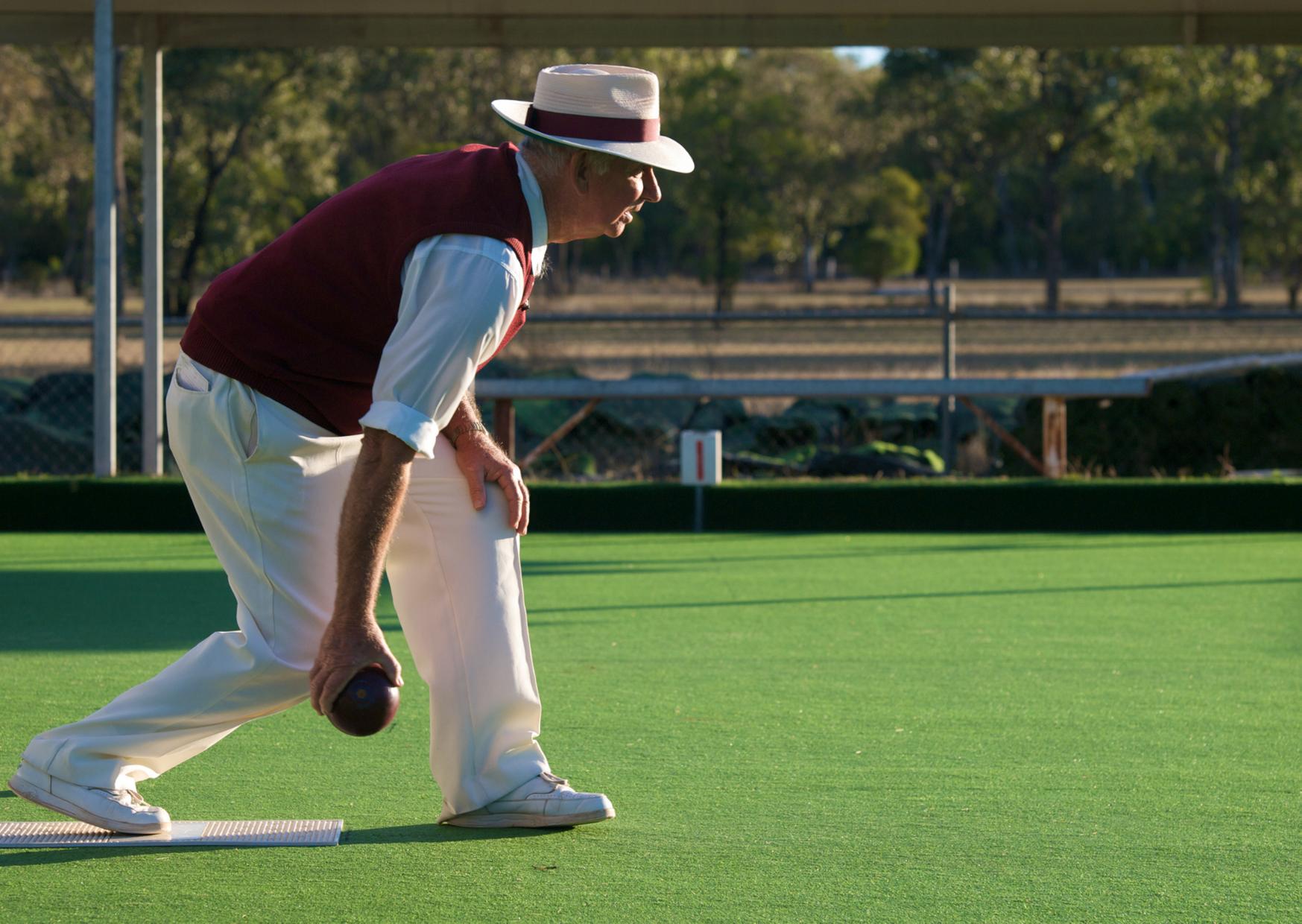Man playing Australian pairs lawn bowls
