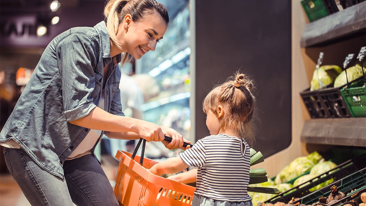 Mother and her daughter buying in the grocery