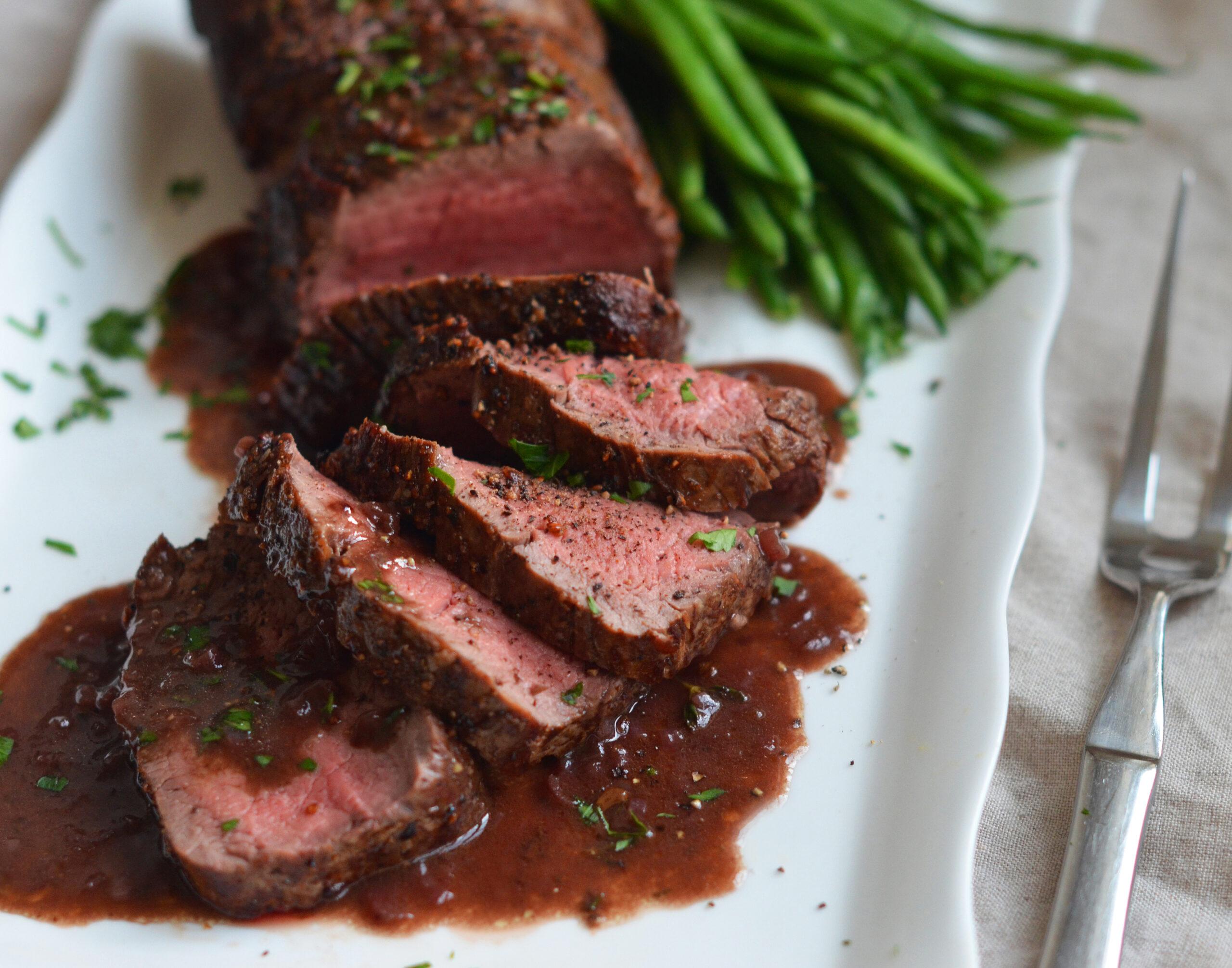 Tenderloin steaks with port wine